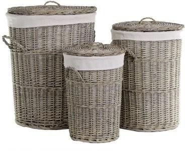 Willow Lined Laundry Baskets - Set of Three